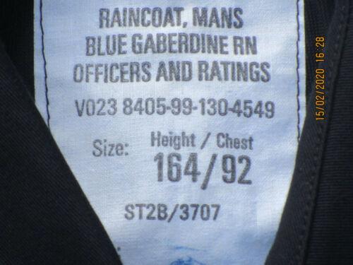 Raincoat Mans Blue Gaberdine Royal Navy Officers /& Ratings,Marine 164//92 Gr