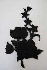 "#3820A 4-1//2/"" Black Wild Flower Embroidery Iron On Appliqué Patch"
