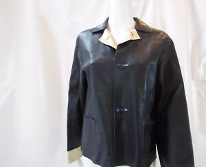 d6cfd3e62 Details about SALVATORE FERRAGAMO Tan and Navy Blue Reversible Leather  Jacket Size 6