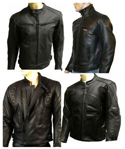pour-hommes-en-cuir-moto-CE-PROTECTION-VESTE-DE-motard-noir-toutes-tailles-NEUF