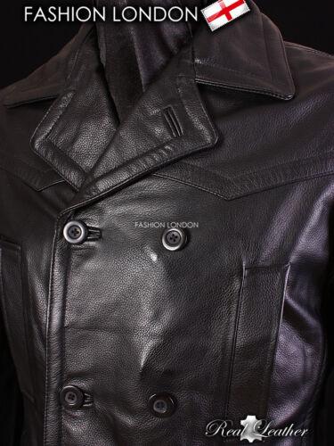 KRIEGSMARINE Men/'s Black German Submarine Hide Leather Jacket Pea Coat