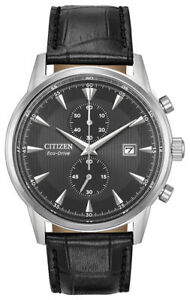 Citizen Eco-Drive Men's Corso Gray Dial Black Leather 43mm Watch CA7000-04H