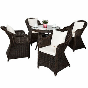 alu garten sitzgruppe 4 gartenstuhl tisch set polyrattan gartenm bel stuhl braun ebay. Black Bedroom Furniture Sets. Home Design Ideas