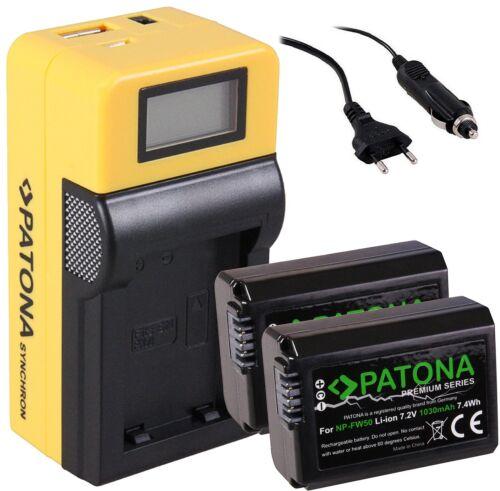 2x Patona Premium AKKU NP-FW50 für SONY a5100Y Alpha LCD SYNCHRON LADEGERÄT