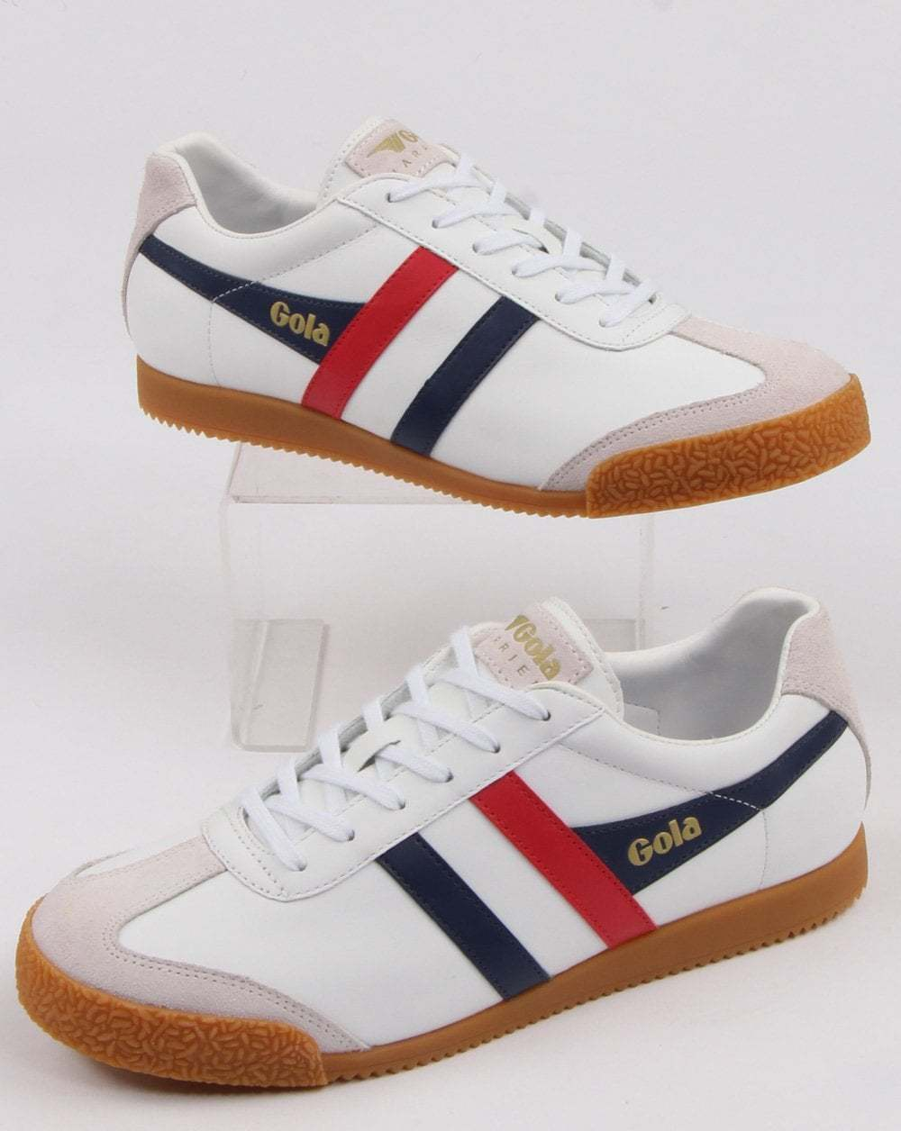 Gola Harrier Leather Trainer in Weiß, Navy & rot - gum sole retro 70s 80s 90s