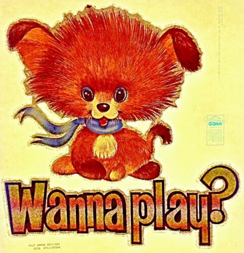 Original Vintage 1979 Wanna Play Iron On Transfer Dog