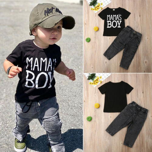 2PCS Baby Boy Toddler Kids Clothes Outfits T-shirt Tops+Ripped Denim Jeans Pants