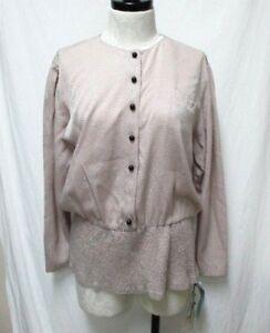 Louis-Feraud-100-Silk-elastic-hem-top-blouse-NEW-NWT-Size-Sz-Medium-Md-M