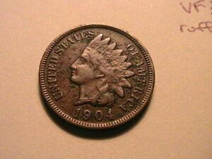 1904-Indian-Head-Penny-Cent-Ch-VF-Crusty-Original-Brown-Tone