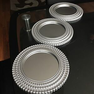 Set Of 3 Silver Moroccan Art Deco Round Wall Mirrors Wall Art