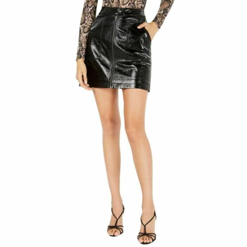 MINKPINK NEW Women/'s Black Faux-leather Zip-up Mini Skirt XS TEDO