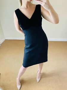 LK-Bennett-14-Black-Velvet-amp-Wool-Blend-Classic-LBD-Party-Pencil-Dress-Open-Back