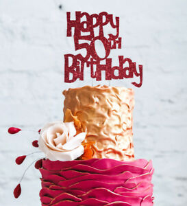 Image Is Loading Happy 50th Birthday Cake Topper Glittery Dark Pink