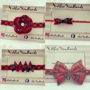 Red-Tartan-Bow-Tartan-Headband-Small-Christmas-Bow-Baby-Headbands-Band-Lot