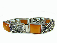 Antique Silver Danish Art Nouveau Bracelet Bernstein Armband Natural Amber 40,9g