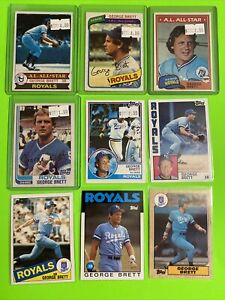 1979-87-HOF-KANSAS-CITY-ROYALS-GEORGE-BRETT-Topps-Baseball-Card-LOT-X9