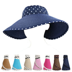 ef262270de6 Polka Dot Women Roll Up Wide Brim Floppy Sun Visor Hat Topless ...