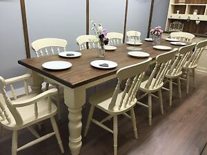 Image Is Loading 10ft Farmhouse Table 10 Chairs Rustic Oak Pine