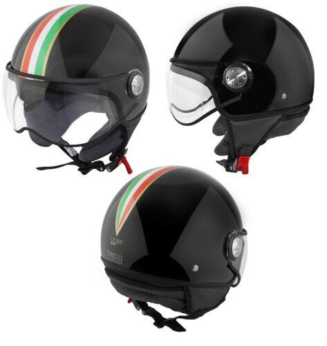 CASQUE 1//2 JET PUCK CAFE RACER ITALIA  Noir Brillant Taille XS S M L XL