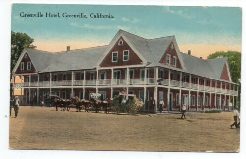 1910 Postcard Greenville Hotel & Stage Greenville CA