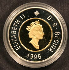 1996 Canada PIEDFORT Proof Silver Toonie $2 dollars Coin with Gold Plated Core