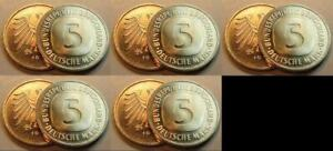 5 DM Currency Coin 1997ADFGJ 5 Piece Complete Top-Erhaltung Fresh Mint Condition