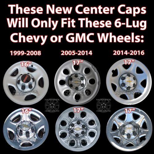Set of 4 pieces Chevy GMC Sierra Savana Suburban Silverado Tahoe Avalanche Yukon 6 Lug 16 17 Chrome Wheel Center Hub Caps Hubcaps Covers