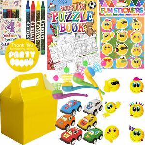 Details About Kids Pre Filled Childrens Boys Party Bags Yellow Boxes Birthday Activity Packs