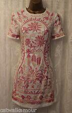 ASOS Cotton Cornelli Trim Embroidered Shift Party Dress 8 36