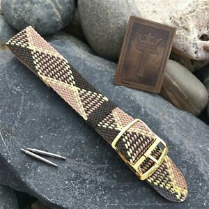 18mm-Perlon-Mesh-Diver-1960s-New-Old-Vintage-Watch-Band-Brown-Tartan-Strap-nos