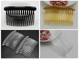 12-Plastic-Hair-Clips-Side-Combs-Pin-Barrettes-80X50mm-Black-Coffee-Coffee-Craft