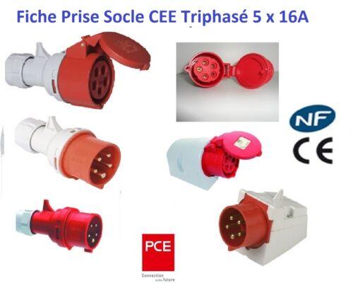 Fiche ou socle mural mâle ou femelle CEE5x16A triphasé 5 Pôles IP44 marque PCE