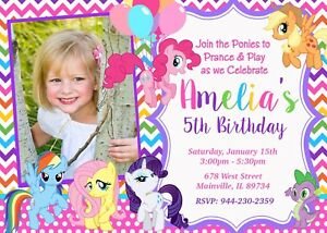 Details About My Little Pony MLP Birthday Invitation Party Invite