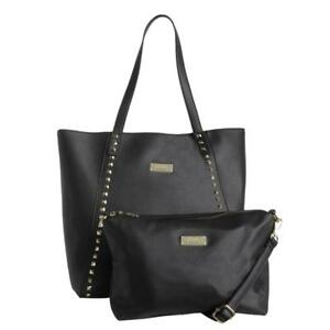 Image Is Loading Bcbg Paris Womens Black Faux Leather Studded Tote
