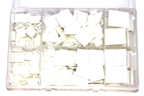 Caja de Surtido de Qty 122 clips de cable de nylon natural Auto Adhesivo cableado AT152