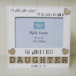 Photo-Frame-The-Worlds-Best-Daughter-Tile-Art-Gift-Wooden-Cream-6x4-034