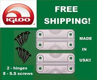 Igloo 2 Pk Cooler Replacement Plastic Hinges 24012 With 8 Ss Screws