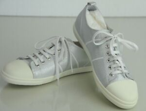 d55dd4108e3 NEW Chanel Silver SHIMMER Metallic White Sneakers CC Tennis Shoes 36 ...
