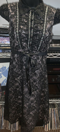 Anna Sui Women's Black & Pink Lace Dress Size 4