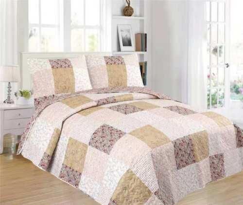 3 Piece Lightweight Quilt Set Full Queen//King Soft Floral Print Coverlet Set