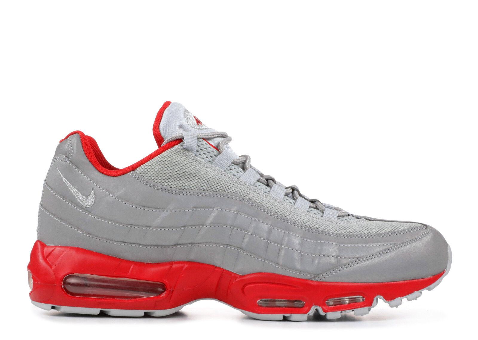 Nike air max 95 argento metallico sport rosso sz 11 609048-029 2010 nuovo raro 2010