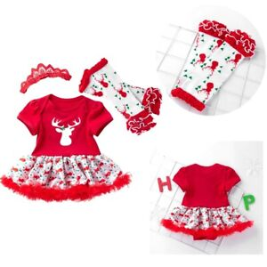 Newborn Baby Girls Romper Dress Christmas Outfits Gift 3PCS Xmas Party Clothes