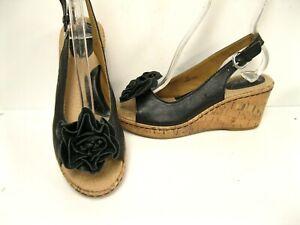 dda2624f7c1c8 Born B.O.C Black Leather Floral Platform Clog Heel Slingback Sandals ...