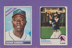 Details About 2 Card Lot 1966 1973 Topps Hank Aaron 100 500 Hof Braves Low Grade