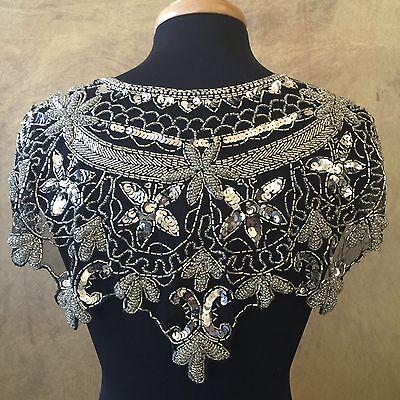 Sequin Beaded Lace Hip Wrap or Collar Shoulder Shrug Shawl Applique White
