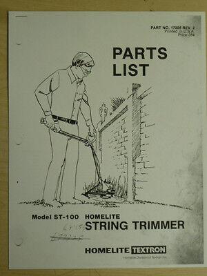 HOMELITE ST 100 STRING TRIMMER PARTS MANUAL #17208 REV. 2