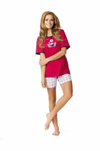 Comtessa night+day Single Jersey Pyjama Shorty mit Print rot oder indigo NEU