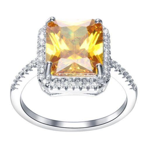 Bijoux mode argent 925 REMPLI JAUNE TOPAZ anneaux de mariage femme Taille 6-10