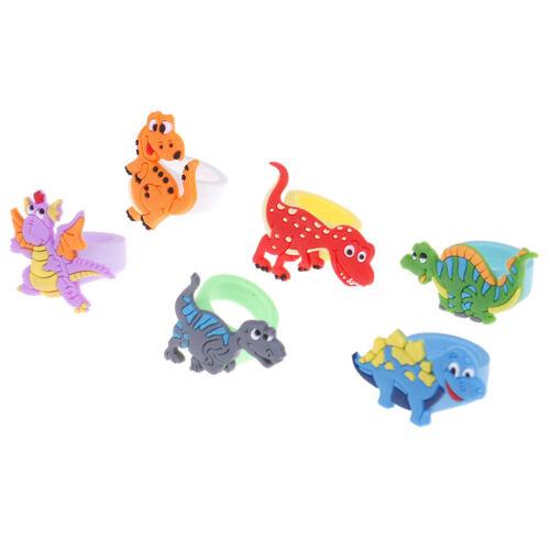6Pcs Environmental dinosaur ring female PVC ring children/'s cartoon YNYJ