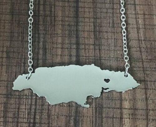 Mapa de Corazón Amor Jamaica Plata Collar Colgante Cadena Rasta Caribe vendedor del Reino Unido